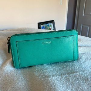 Coach leather Mint Emerald Green wallet clutch